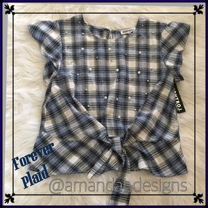 💜 NWT! JUST IN! PLAID TIE FRONT STUDDED TOP